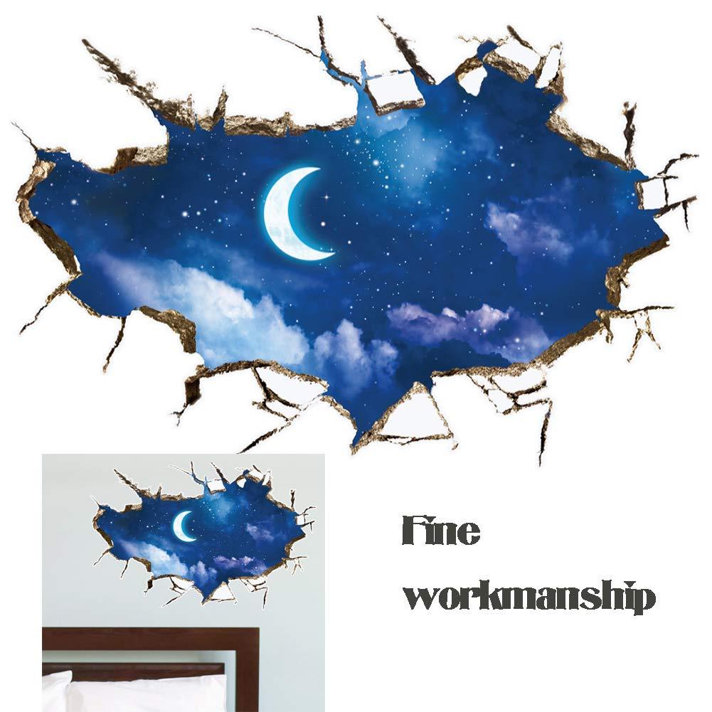 beijieaiguo Creativa Patr/ón Luna Wall Decal 3D Adhesivo Decorativo desprendibles de la Pared Adhesivos Pegatinas Pegatinas de Pared Paisaje de la decoraci/ón Decoraci/ón Etiqueta de la Pared