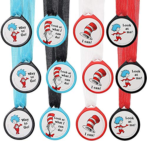 Amscan Dr. Seuss Cat in the Hat Award Medals, Birthday Party Supplies, Includes 6 Designs, 12 Count -