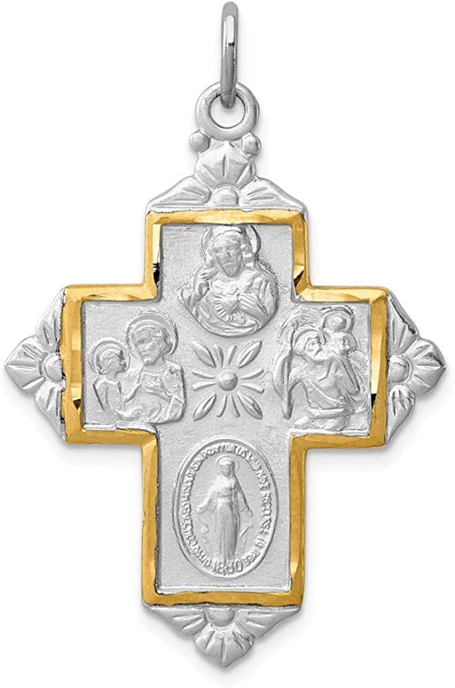 925 Sterling Silver Rhodium-plated /& Gold-tone 4-Way Medal Religious Cross Charm Pendant