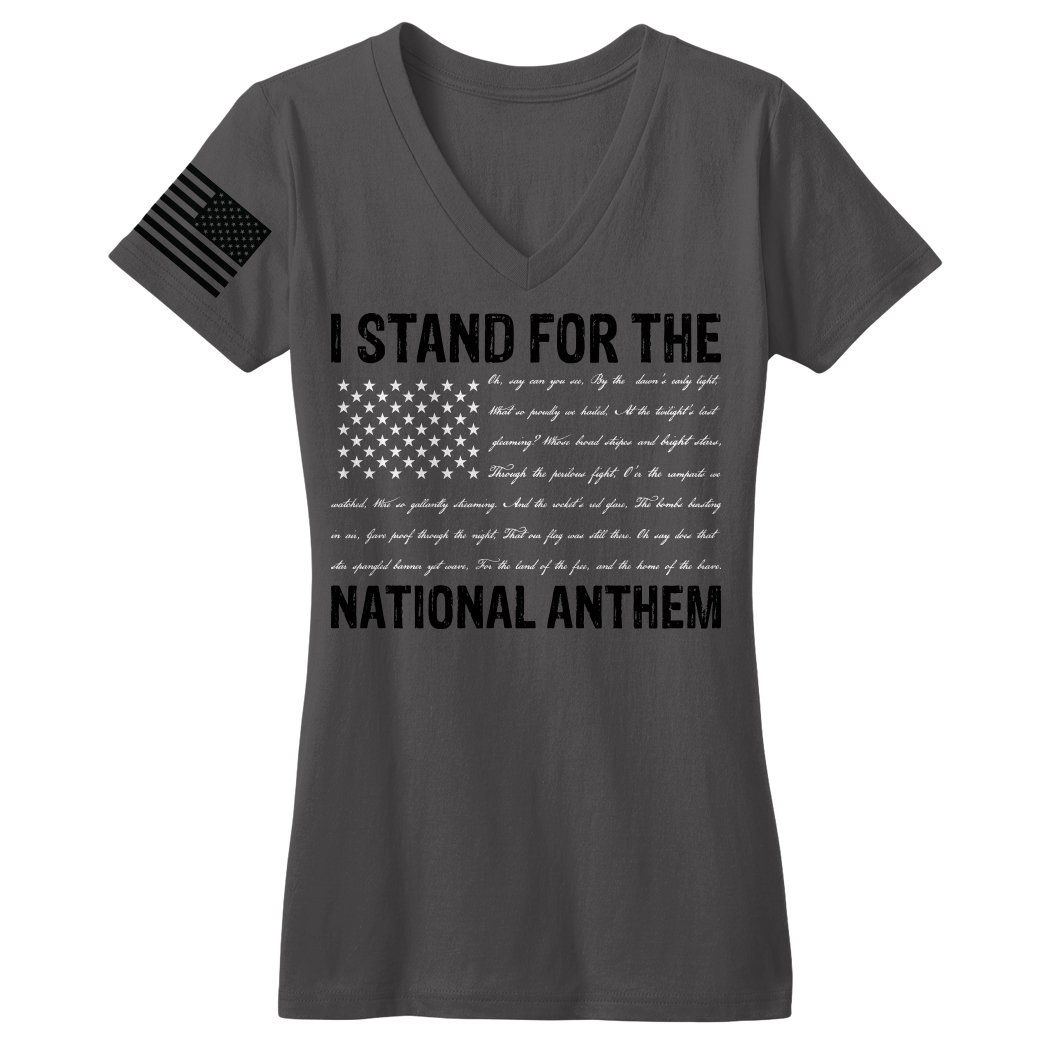 Bang Bang Apparel Women's I Stand For The National Anthem V-Neck Tee With Anthem Written As Stripes