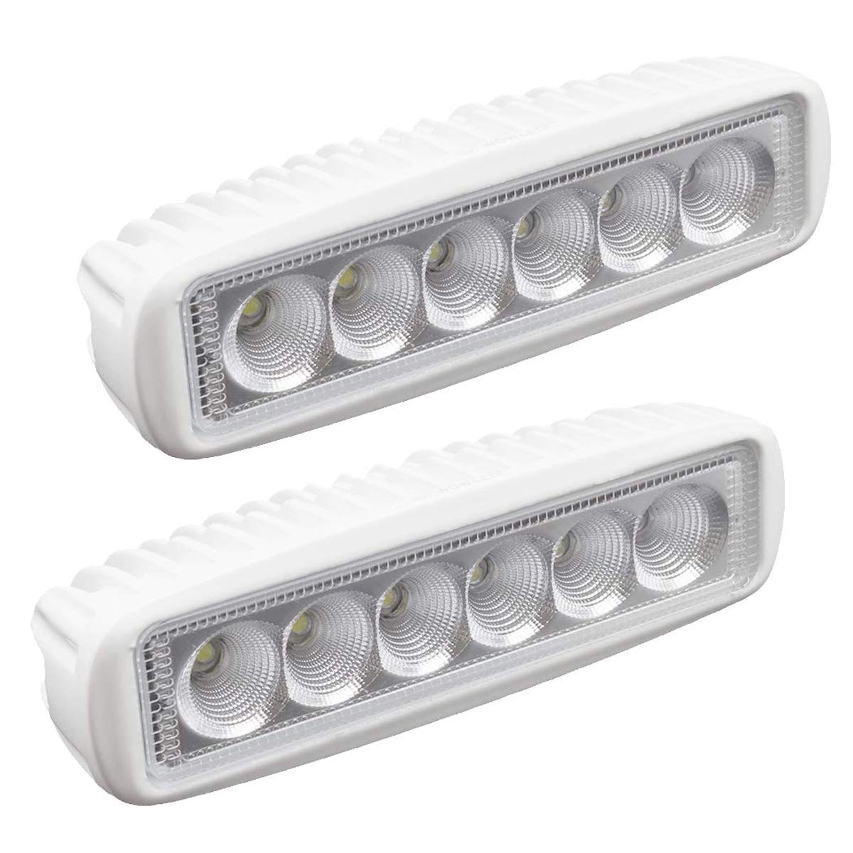 WFPOWER Boat Light 2 Pack, LED Marine Spotlights Waterproof, 6 inch Deck Dock Flood Light for Boat Accessories Pontoon Fishing Truck SUV ATV 12V White by WFPOWER