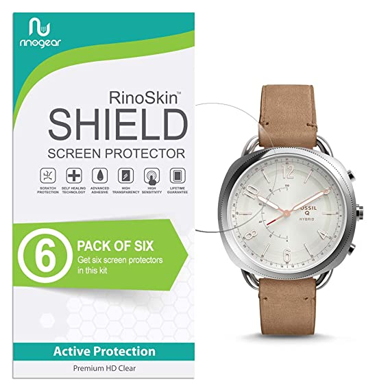 (6-Pack) RinoGear Fossil Hybrid Smartwatch Q Accomplice Screen Protector Case Friendly Screen Protector for Fossil Hybrid Smartwatch Q Accomplice ...
