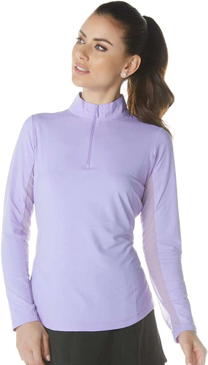 IBKUL Womens Sun Protective UPF 50 Cooling Solid Long Sleeve Mock Neck Top 80000 Seafoam Solid L
