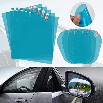 10 Pack Anti Glare Film for Windows Nano Coating Rainproof Membrane for Cars SUV Trucks Bus Anti Fog Anti Rain Film for Side Mirror Windshield AutoEC Car Waterproof Rearview Mirror Film