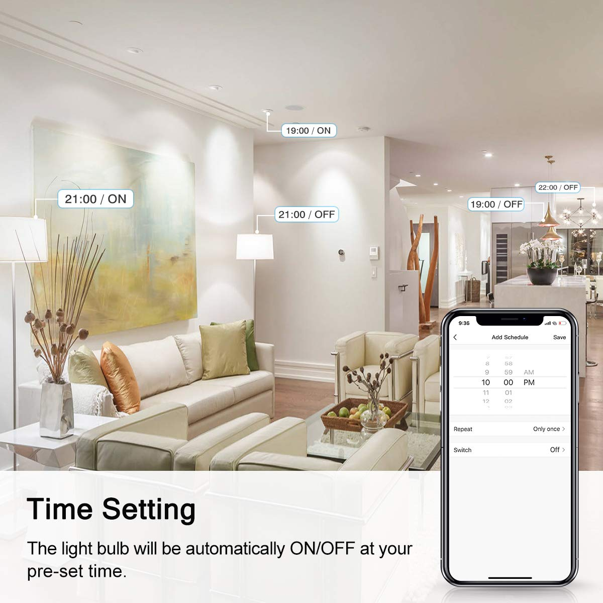 LOHAS Smart LED Candelabra Bulb E12 Base, Smart Daylight 5000K Single Color WiFi LED Light Bulb, 50w Equivalent Dimmable with APP, Compatible with Alexa Google Assistant for Ceiling Fan Lights, 4 Pack by L LOHAS LED (Image #3)