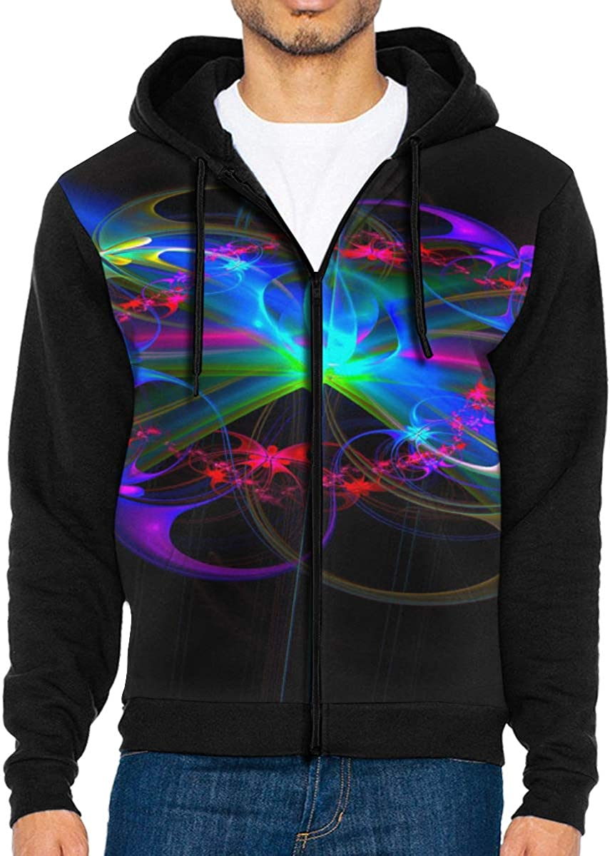 LD6DBGK Neon Rainbow Background Mens Zipper Hoodie Sweatshirt Winterwear