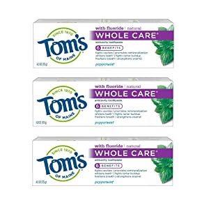 Tom's of Maine Whole Care Toothpaste, Toothpaste, Natural Toothpaste, Peppermint, 4.0 Ounce, 3-Pack