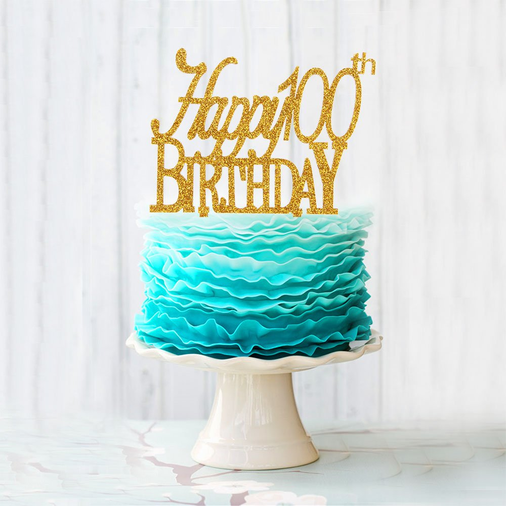 Happy 100th Birthday Acrylic Cake Topper For 100 Years Old Birthday Party Decoration Supplies Gold by waway