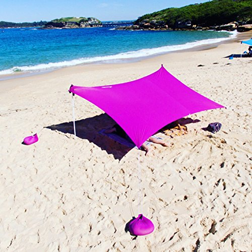 ZiggyShade – Beach Tent – Sun Shade – with Sandbag Anchors – UPF50+ (Violet, Family)