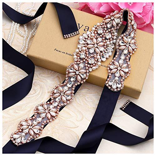 Yanstar Handmade Rose Gold Beads Bridal Belts Navy Sashes Wedding Belt With Rhinestones For Wedding Bridesmaid Dress (Rose-Navy) ()