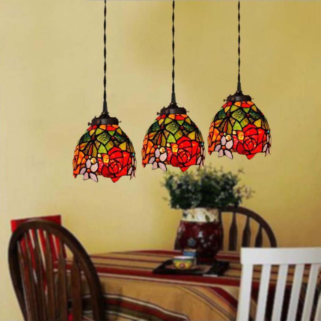 Tiffany style chandelier rose pattern lampshade 3-lamp ceiling light fixture bar restaurant bar Pendant Light 110-240V/E273 (Color : A)