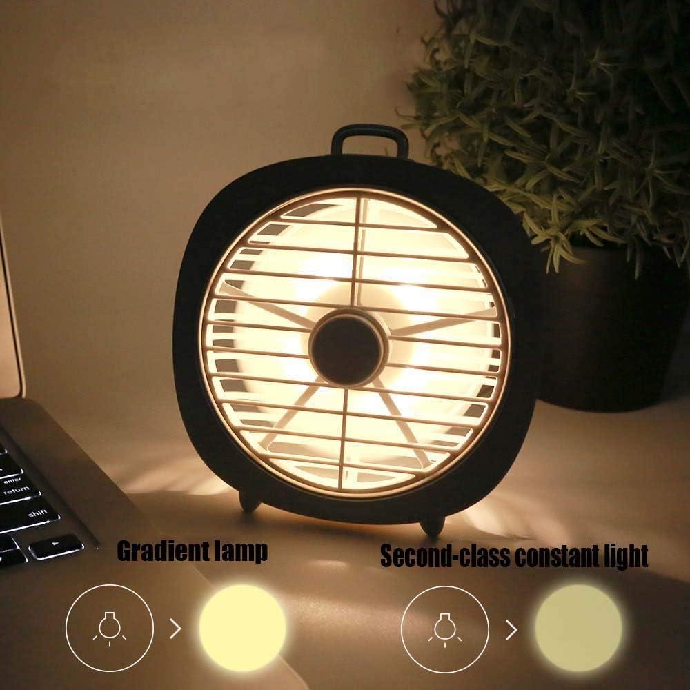 Color : Gray XIAOF-FEN USB Charging Mini Fan Desktop Three Speed Wind Led Night Light 180/° Fan 4W Two Warm Light Dormitory USB Fan