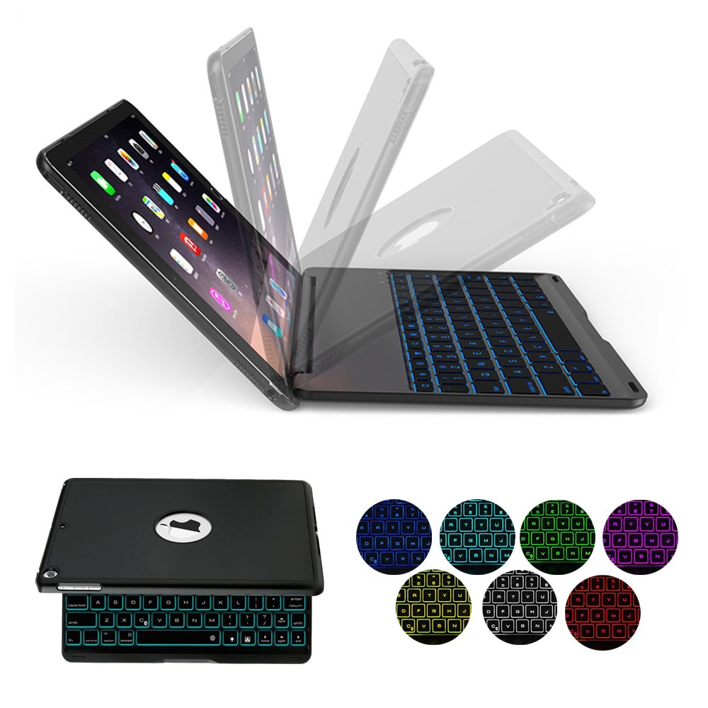 iPad Keyboard Case for 2017 New iPad 9.7 inch & iPad Air with 7 Colors LED Backlit iPad Keyboard with Bluetooth Protective Case Cover for iPad 5th Generation and iPad Air 1 by HotGo(Black) by HotGo (Image #1)