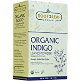 Root2Leaf 100% Herbal Indigo Powder For Hair, Pure Natural and Chemical Free Indigo Leaf Powder, Covers Gray Hair, Strengthens Dull Hair – 227 gm