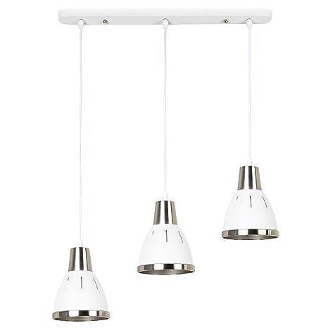 HomComLámpara de Techo Industrial Vintage 3 Luces Lámpara Colgante Moderna E27 40W Ф30x35cm Blanco