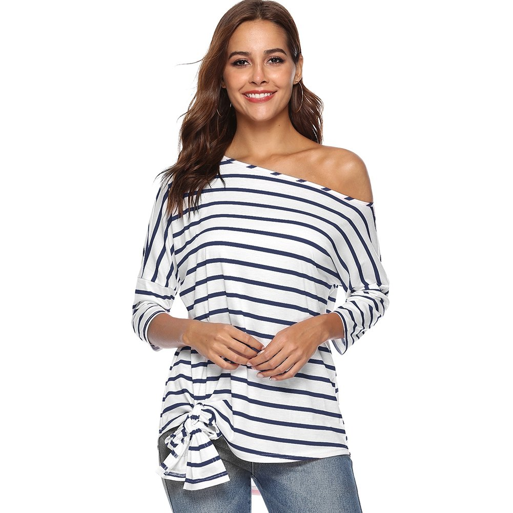 bluee Hotiary Women's Striped Shirt Tie Front 3 4 Sleeve Tunic Blouse Off Shoulder Tops for Women