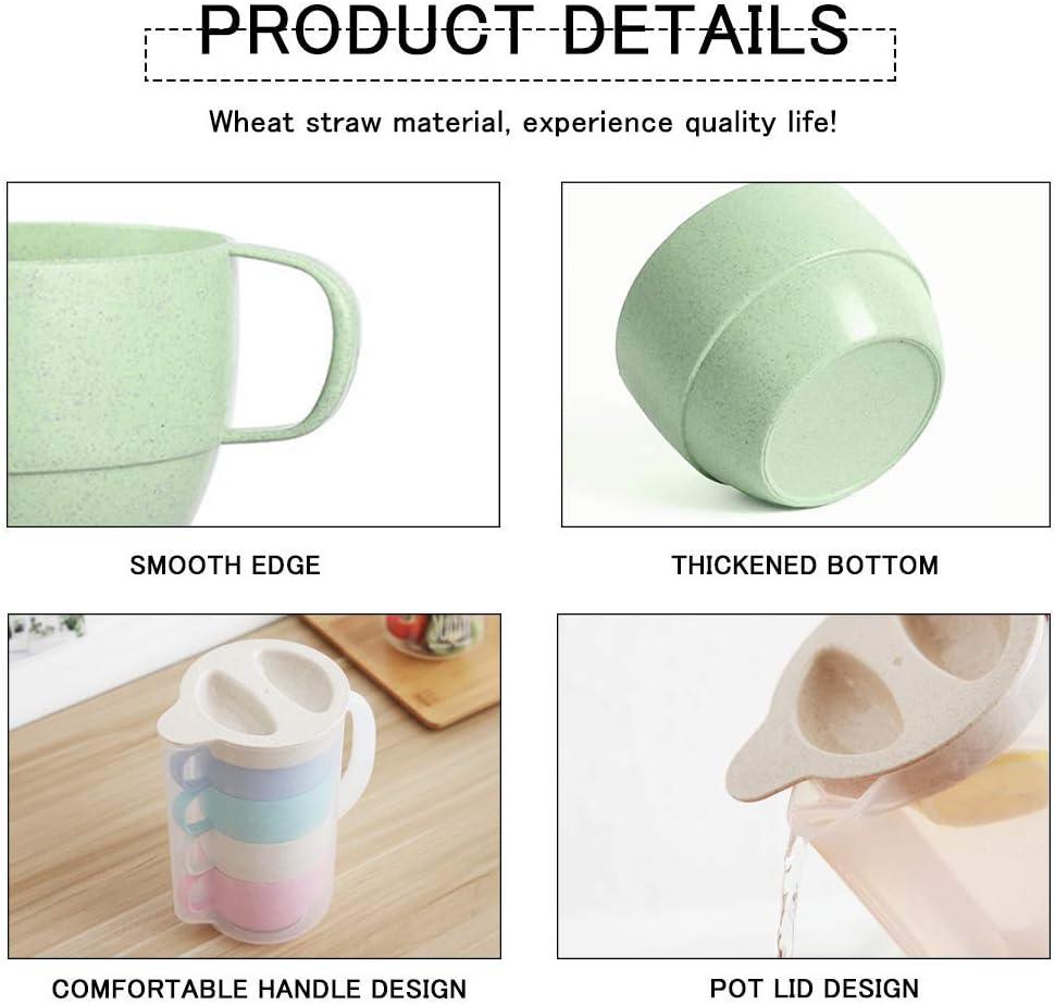 leche reutilizable para caf/é zumo irrompible Juego de tazas de paja de trigo t/é biodegradable agua juego de mesa para ni/ños sin BPA ni/ños peque/ños y adultos 8 vasos de bebida.