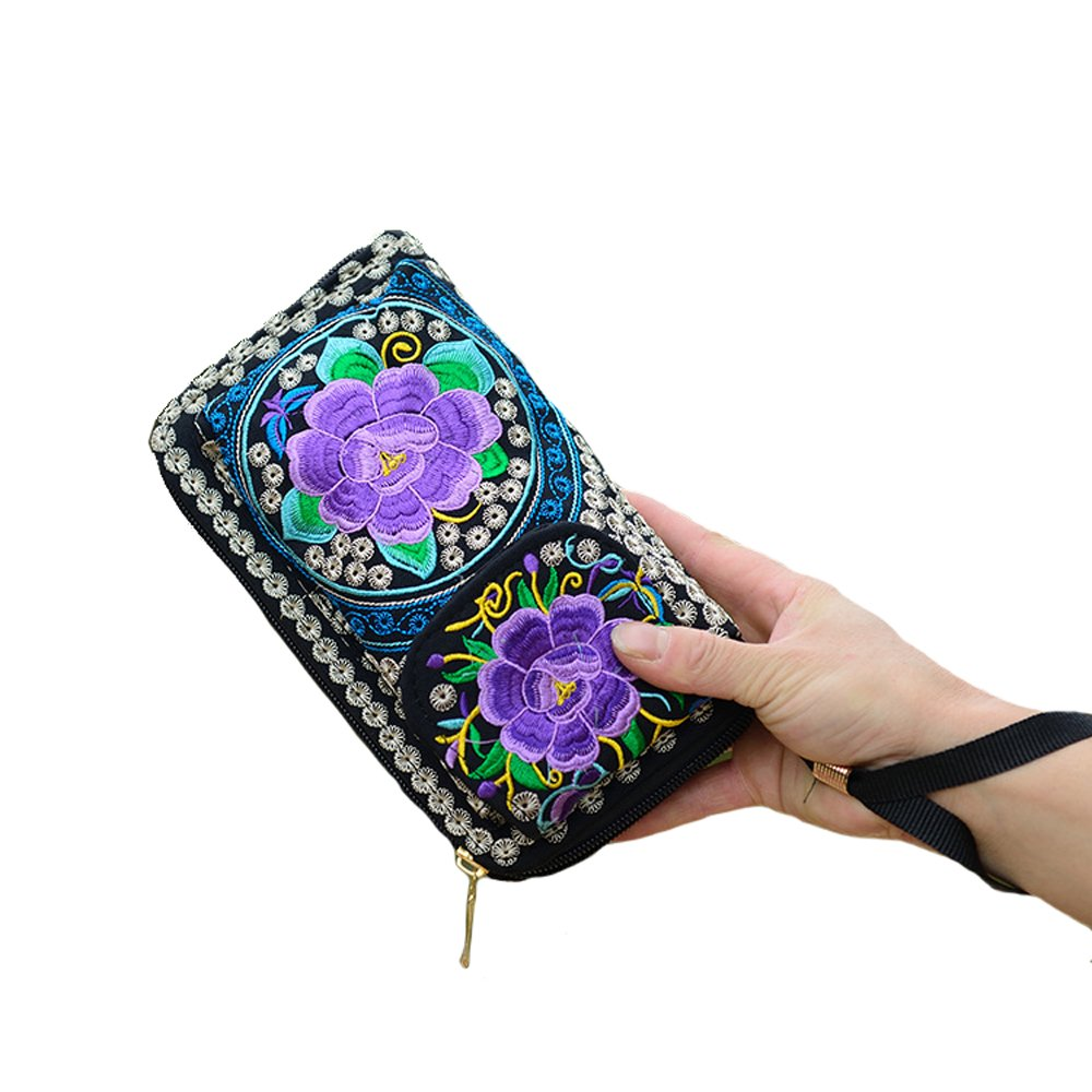 Women's New Flwer Embroidery Design Bohemian Style Purse Clutch Bag Card Holder (5)