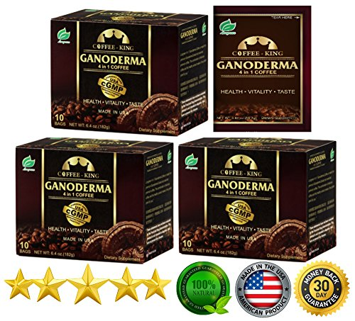 PureGano Ganoderma Coffee Cafe Latte- Reishi Coffee Mix - Instant 3-in-1. 1800mg Ganoderma Lucidum Red Reishi Mushroom Extract - Non Dairy Creamer & Sugar Included- 3 Box 30 Sachets ()