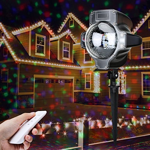 LED Christmas Light Projector - Lampwin 2017 New Design Outdoor Holiday Portable Slide Fairy RGB Maple Projector Light with Wireless Remote for Xmas Party Birthday New Year Decoration