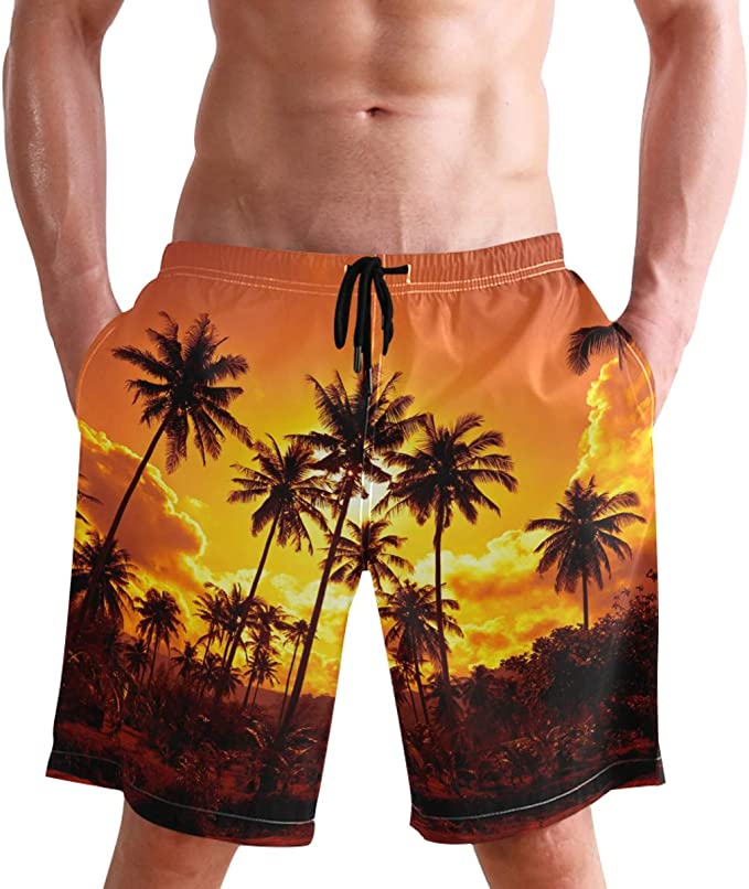 Palm Trees in The Sunset Mens Swimming Trunks Beach Board Shorts Pocket Quick Dry Holiday Short Pants Beachwear