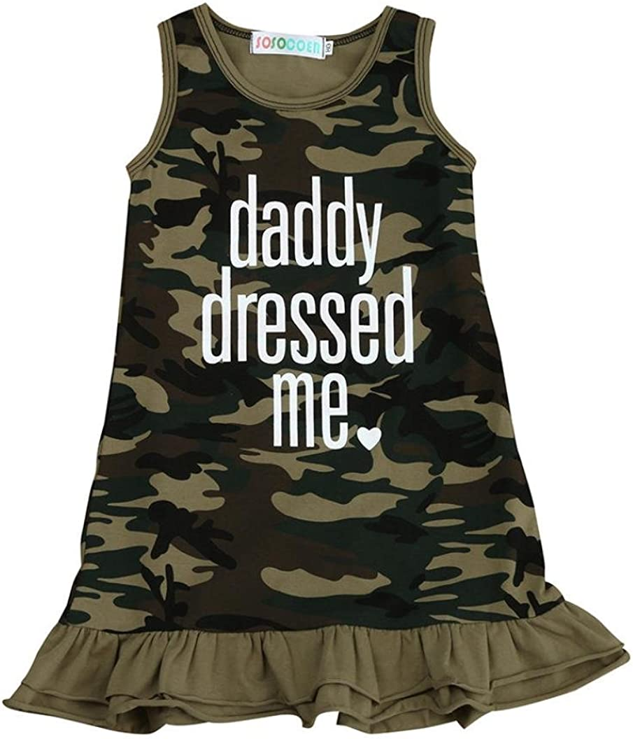 Iuhan Camouflage Baby Girl Daddy Dressed Me Letter Print Dress Clothes Outfits