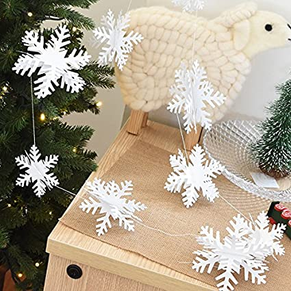 tinksky 12pcs 3d snowflake decorations silver white snowflake cardboard string christmas hanging decorations wedding luau hawaii - Cardboard Christmas Decorations