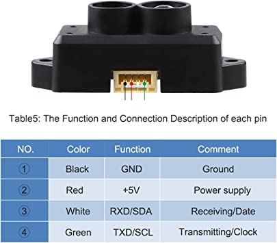 Aihasd TFmini Lidar Buscador de Rango Sensor Punto /único Distancia M/ódulo de detecci/ón con Cable para Arduino Raspberry Pi Pixhawk