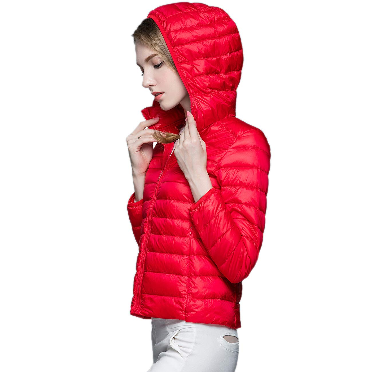 KIWI RATA Women's Hooded Packable Ultra Light Weight Short Down Jacket - Travel Bag