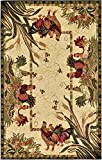 Unique Loom Barnyard Collection French Country Cottage Roosters Cream Area Rug (5' x 8')