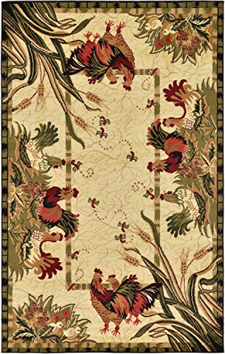 Unique Loom Barnyard Collection French Country Cottage Roosters Cream Area Rug (5' x ()