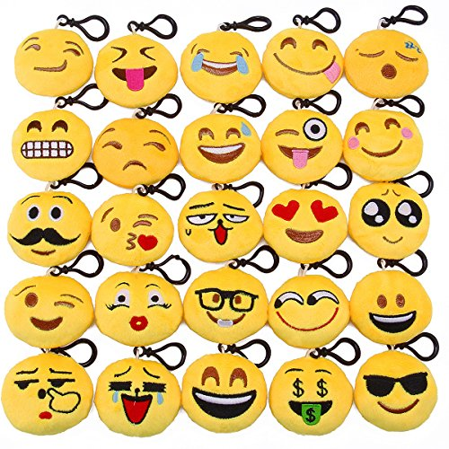 Lenink Emoji Party Supplies,25 Pack Emoji Keychain,Mini Plush Emoji Pillows,Emoji Party Favors for Kids Backpacks and Bags Decorations by Lenink
