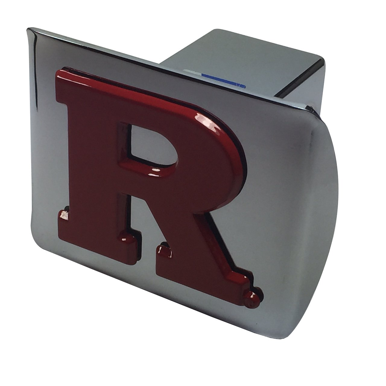 Red Rutgers METAL emblem on chrome METAL Hitch Cover AMG