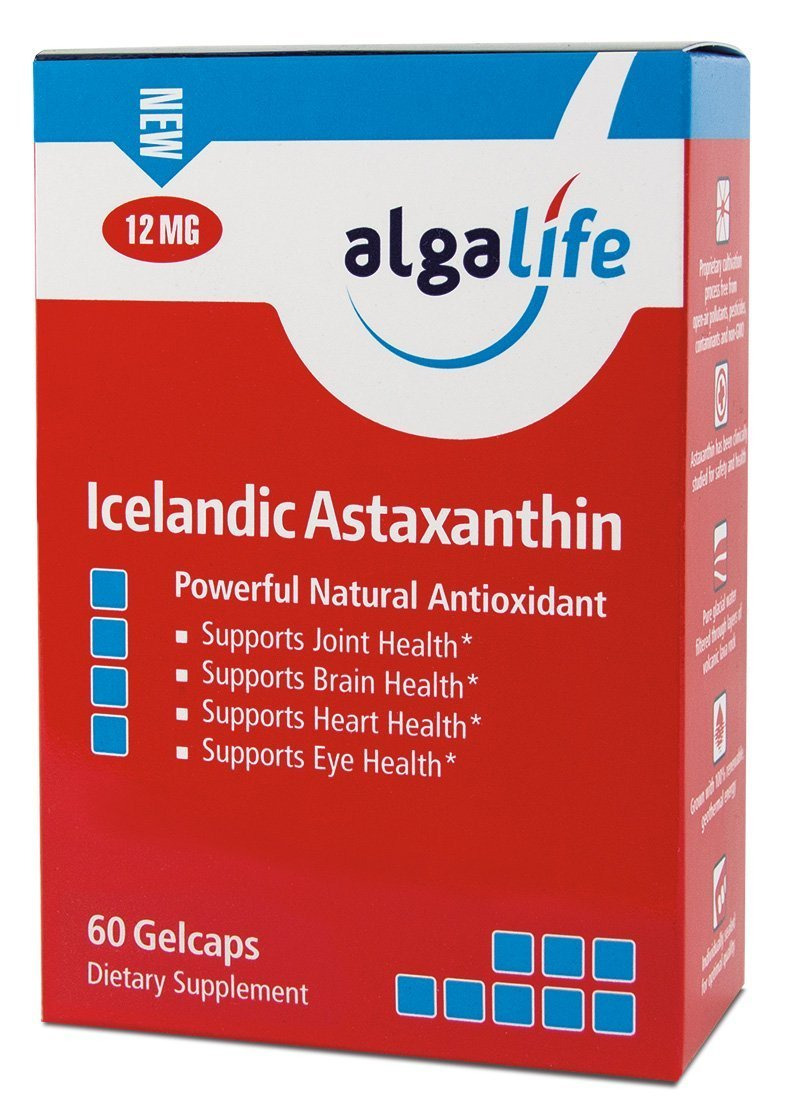 Icelandic Astaxanthin 60 Count – 12mg with Hi-Oleic Sunflower Oil - 60 GelCaps 12 mg of Pure Natural Astaxanthin - Pack of 2