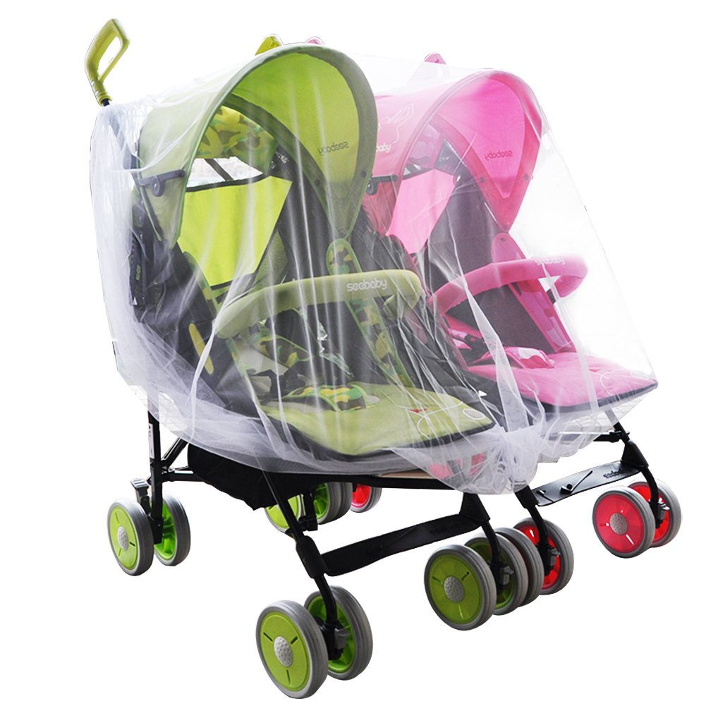 Aligle Twin stroller nets Baby Mosquito Mesh Tandem Strollers Double and Car Seats ET0118