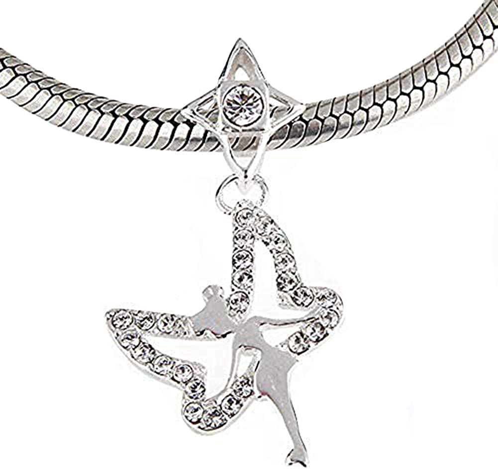 Tinkerbell Night Elf Fairy Wielding Her White Wings Charm 925 Sterling Silver Dangle Beads
