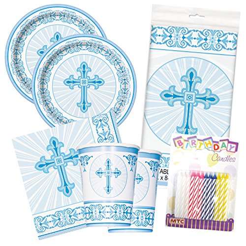 Radiant Cross Religious Celebration Party Tableware Plate and Napkin Set (Blue, Deluxe (Blue Cross Candle)