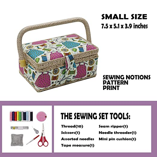 18b85ad868c87b Amazon.com: D&D Small Sewing Basket with Sewing Kit Accessories for  Girls/Kids/Beginners (Multicolored)