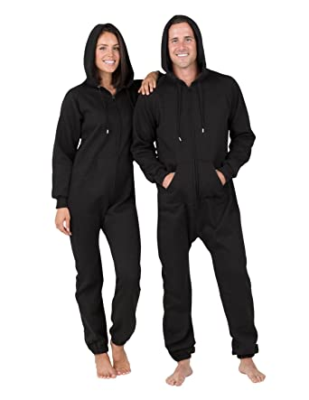05d40e77a98b Amazon.com  Joggies - Pitch Black Adult Footless Hoodie Onesie  Clothing
