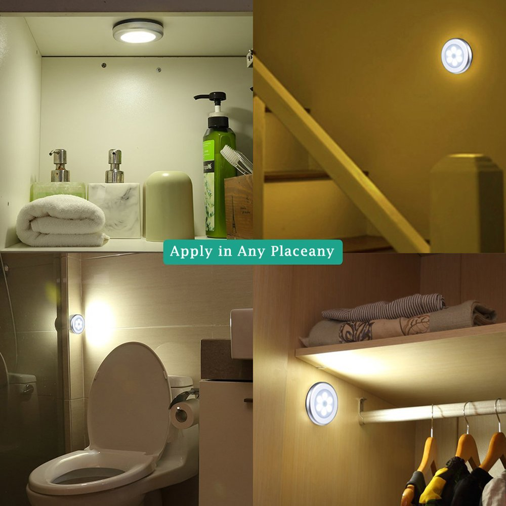 White Motion Sensor Light Kitchen Cabinet Closet Wardrobe Cordless Battery-Powered LED Night Light with 3M Adhesive Pads 3 Packs Safe Lights for Stairs Bedroom