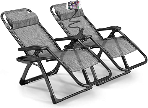 Rimdoc Zero Gravity Chair Oversized 2 Pack Folding Camping Chairs 40mm Thick Frame XL Recliners Adjustable Patio Lounge Chairs Set of 2 with Cup Tray Gray