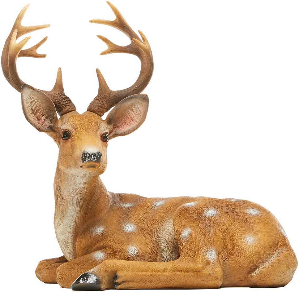 JHVYF 13 Inch Resin Sika Buck Figure Home Office Decor Deer Statue Animal Figurine Decorations Lawn Decor Housewarming Gift