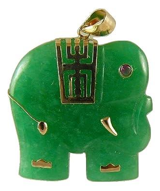 Amazon green jade elephant pendant 14k yellow gold jewelry green jade elephant pendant 14k yellow gold aloadofball Gallery