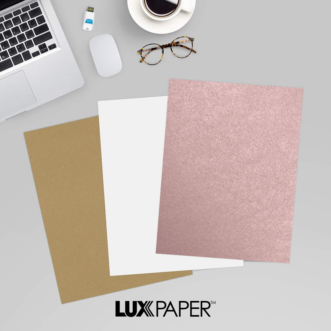 LUXPaper 8.5'' x 11'' Paper for Crafts and Printing in Misty Rose Metallic - Sirio Pearl, Scrapbook and Office Supplies, 250 pack (Rose) by Envelopes.com