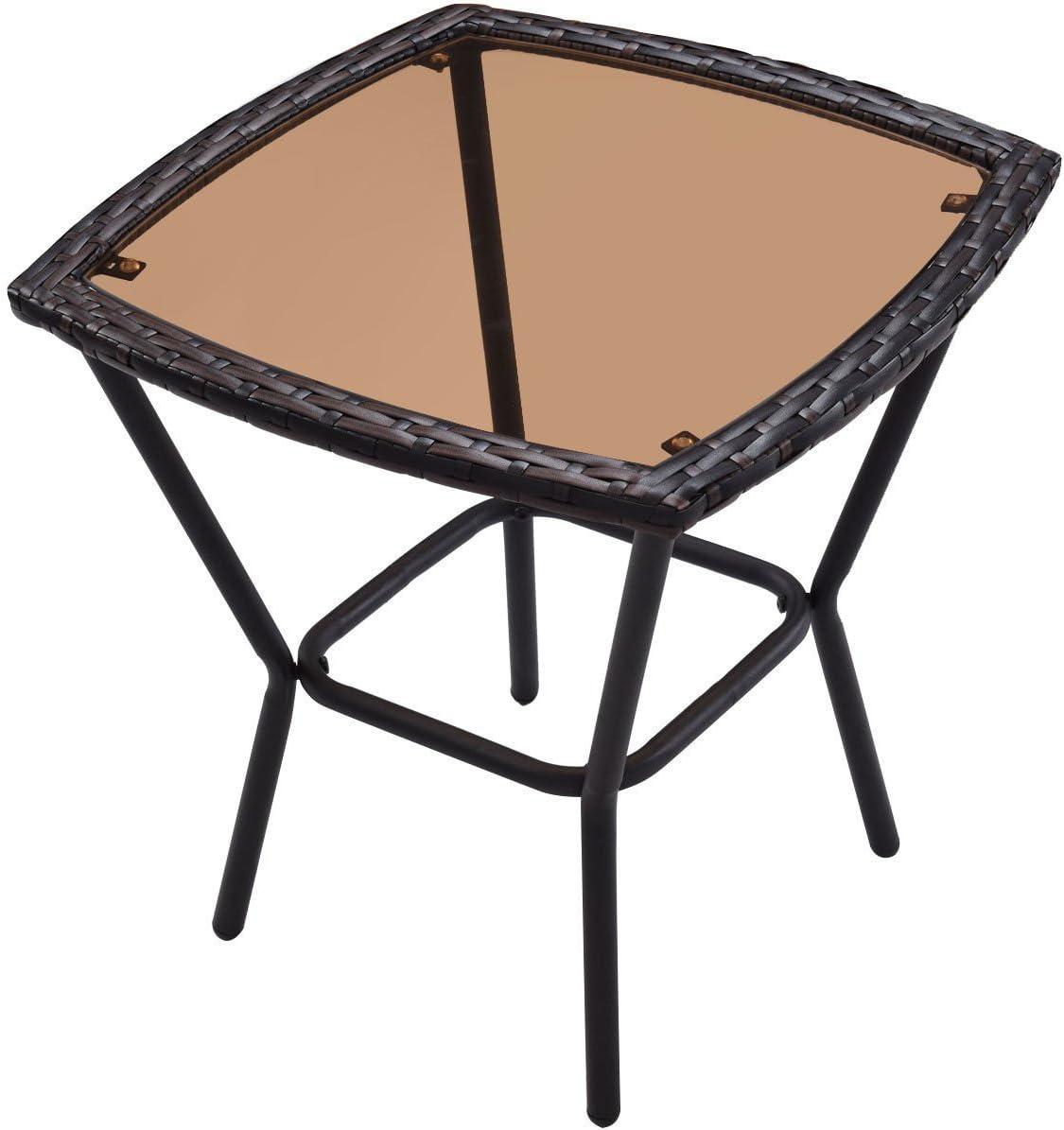 Tangkula AM1483HM Rocking Set 3 Piece Outdoor Patio Garden Poolside Wicker RATT, Brown: Garden & Outdoor