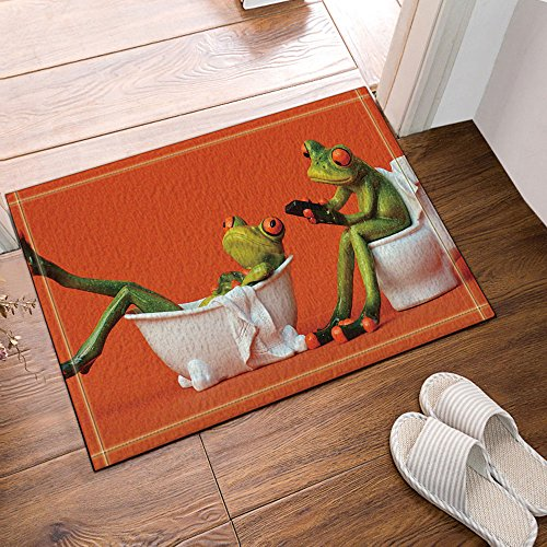 (NYMB One Frog Sit on Toilet the Girl Frog in the Bathtub for Kids Bath Rugs, Non-Slip Doormat Floor Entryways Outdoor Indoor Front Door Mat, Kids Bath Mat, 15.7x23.6in, Bathroom Accessories)