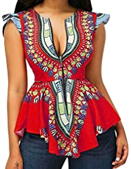 Rucan Summer Womens Dashiki Tops Sleeveless African Printed Slim Fit Shirts Blouse