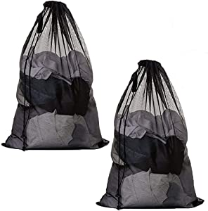 Lestravel Extra Large Net Washing Bag 23x35 inch Durable Mesh Laundry Bags with Lockable Drawstring for Huge Clothes Delicates (2pcs Black Laundry Bag)