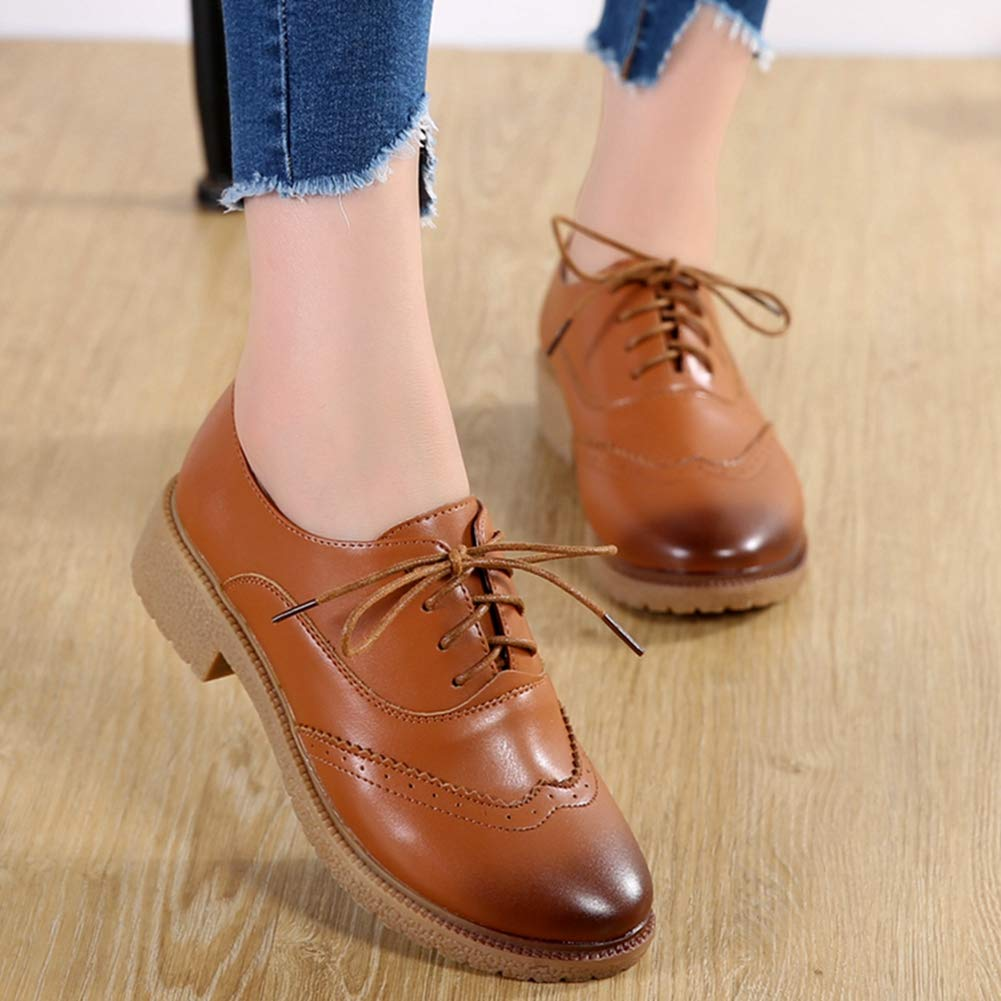 Damen Klassische Wingtip Oxford Schuhe Vintage Brogues Lace
