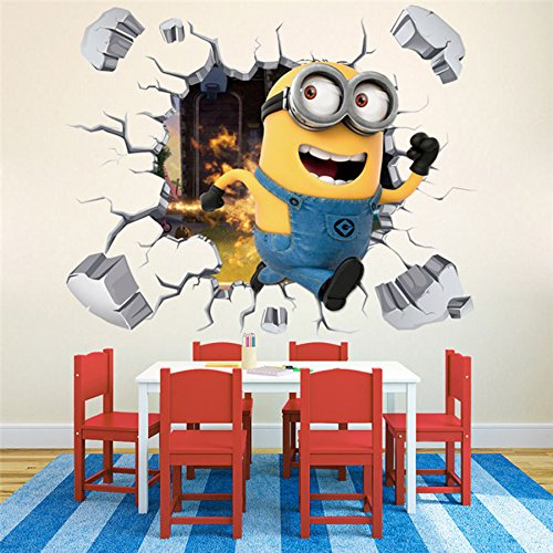 Asian Border Square Banner (3D Broken Wall Generic Minions Running Despicable Me Decal Wall Stickers Decors)